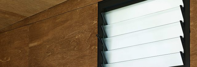 Paragon louvre window in Monument Matt with Lumina Cloud privacy glass