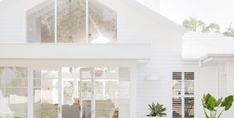 Three Birds Renovations: Natura timber entry door and rake window painted white