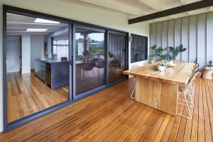 Coffs to Cali: Paragon stacking door and fixed window in Monument Matt