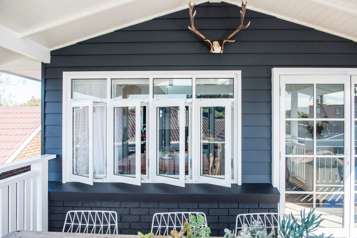 Kyal & Kara: Paragon casement windows with highlight windows and french doors in Pearl White