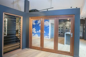Natura timber bi-fold door and louvre window, Wideline Rosebery Showroom