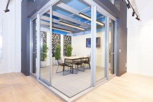 Paragon 90 degree corner cavity stacking door in Precious Silver