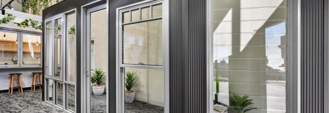 Paragon louvre window, double hung window at Wideline Liverpool Showroom