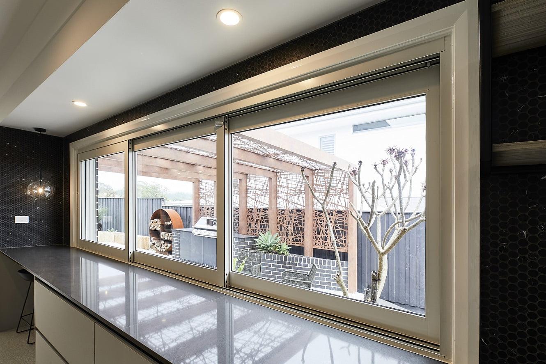 Paragon sliding stacking window kitchen servery
