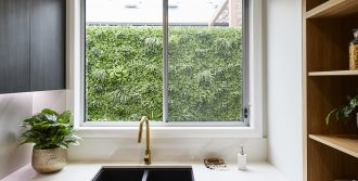 Horizon sliding window in Shale Grey with black hardware