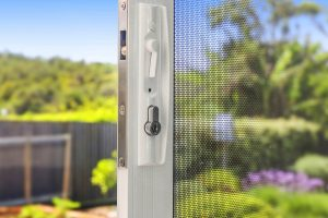 SecureLine security screen sliding door hardware in Pearl White