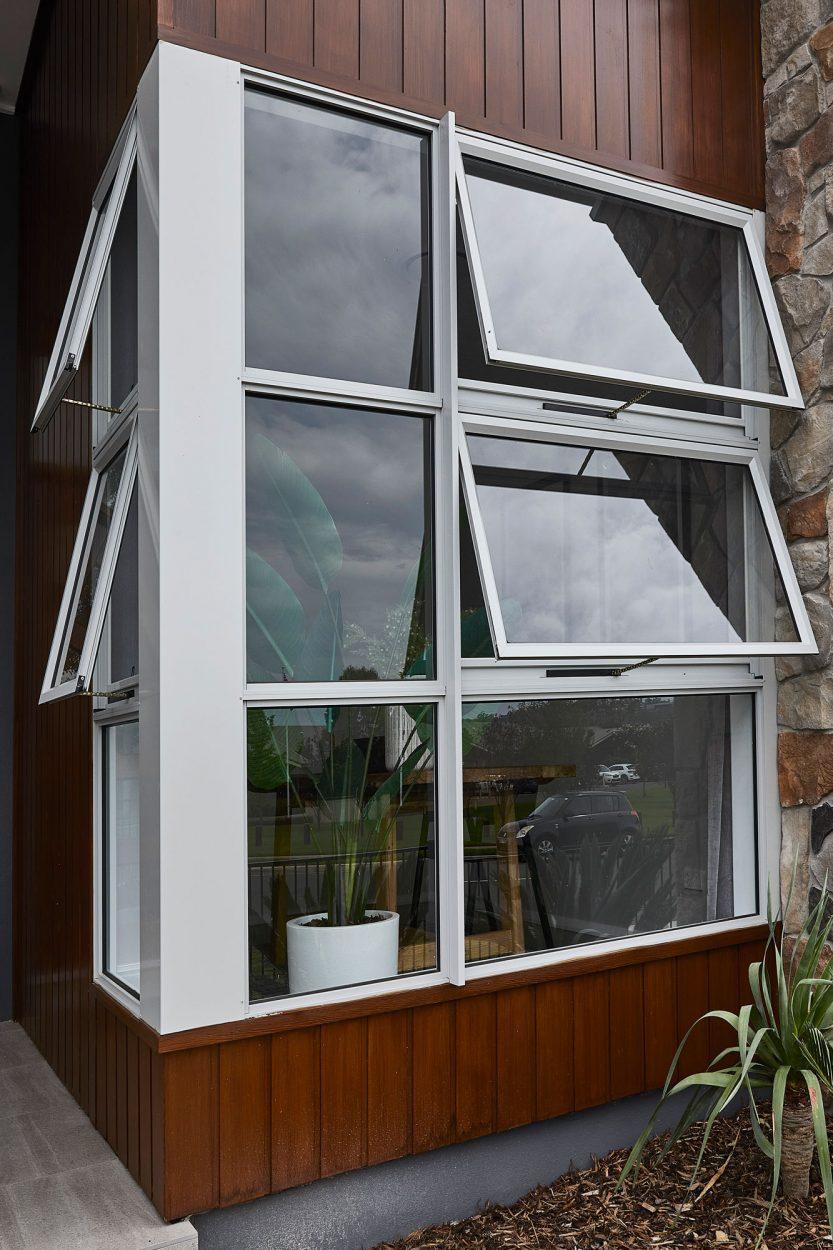 Horizon awning windows in Shale Grey