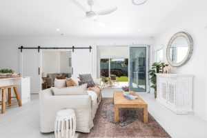 Horizon stacking door in Pearl White, Hopwood Homes