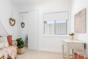 Horizon sliding window in Pearl White, Hopwood Homes
