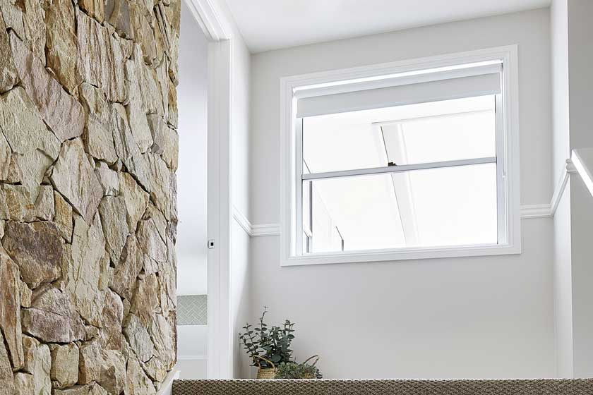 Horizon double hung window in Pearl White