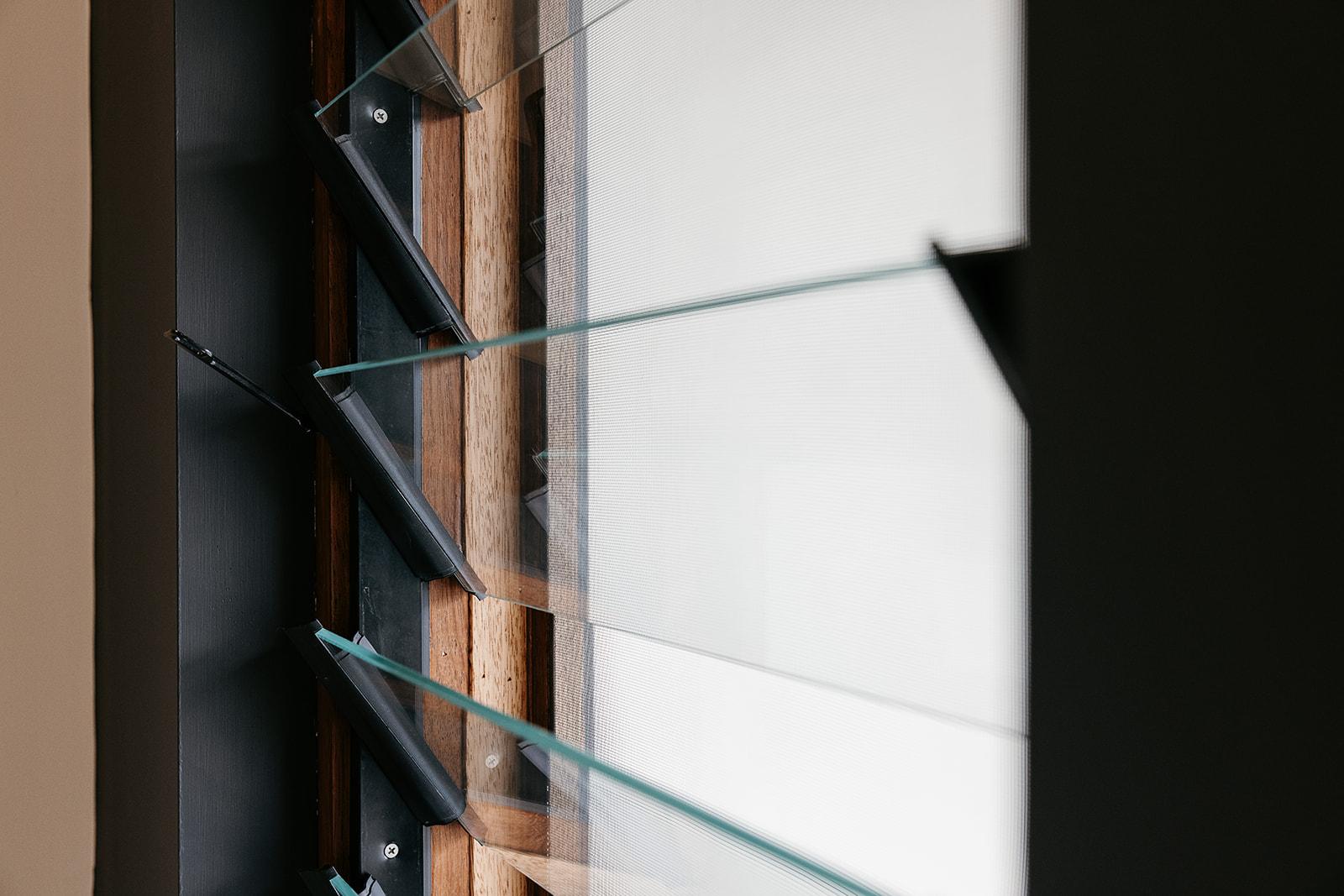 Glass louvre blades window close up