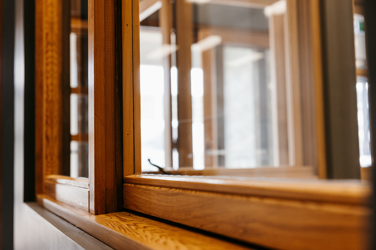 Stunning timber window sill close up
