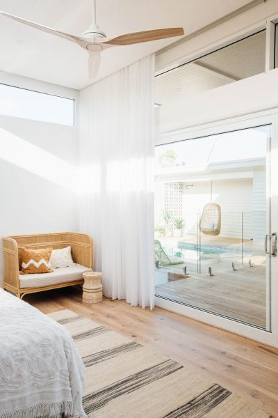 Paragon sliding door and highlight window in Pearl White