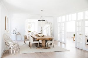Three Birds Renovations: Natura timber french doors with colonial bars and highlight windows painted white