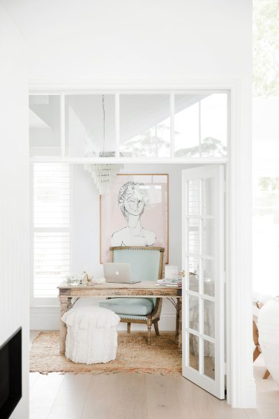 Three Birds Renovations: Natura timber french doors with colonial bars and highlight windows painted white, House 8
