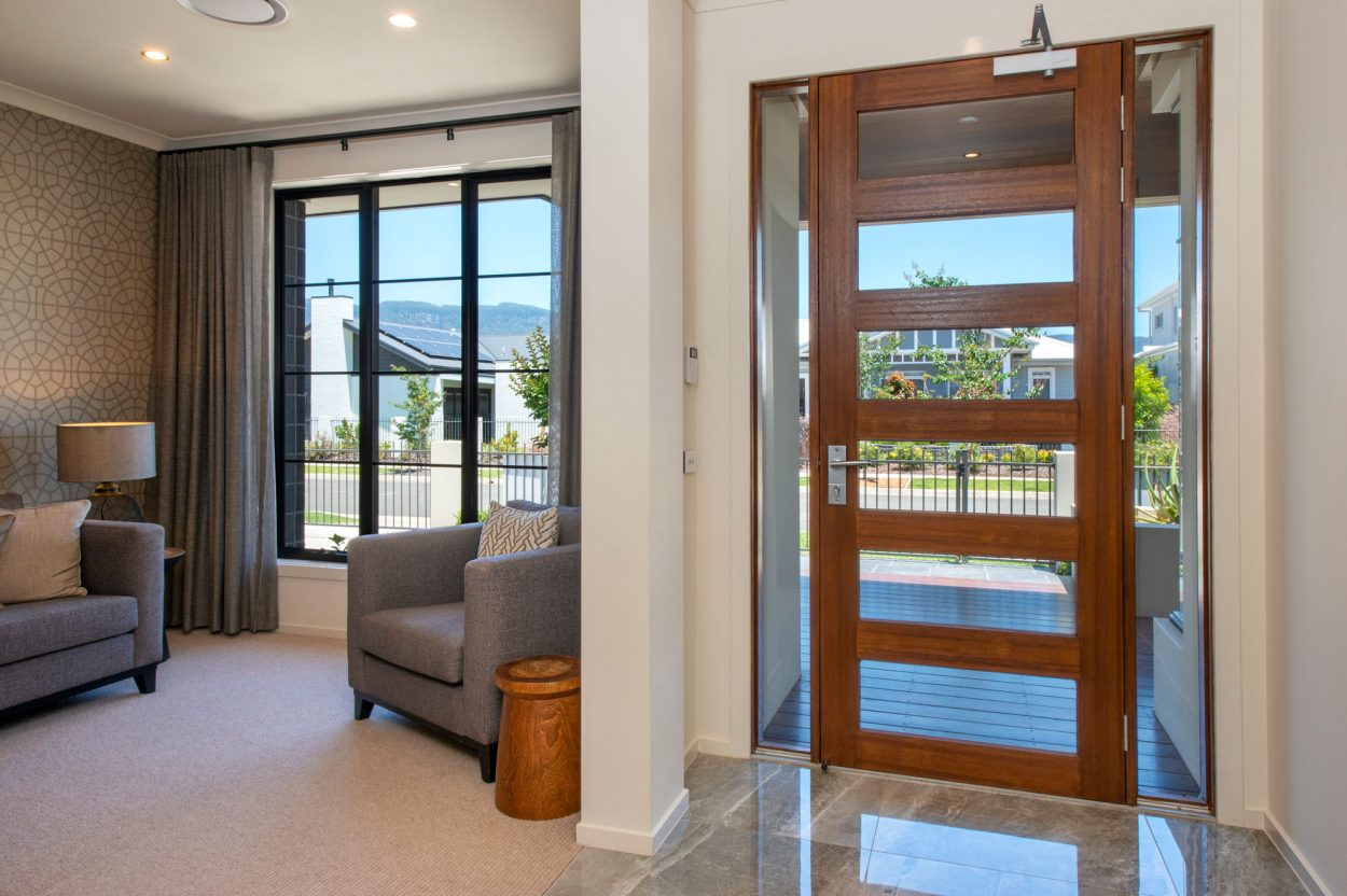 Natura timber entry door and sidelites