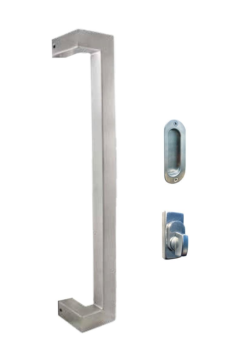 Square Designer Handle 600mm, Snib & Flush Pull