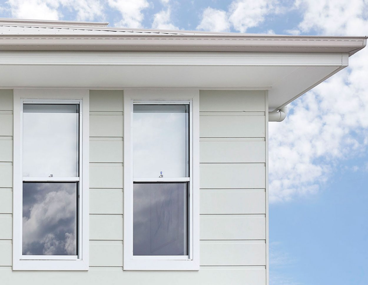 Horizon double hung window in Pearl White external view